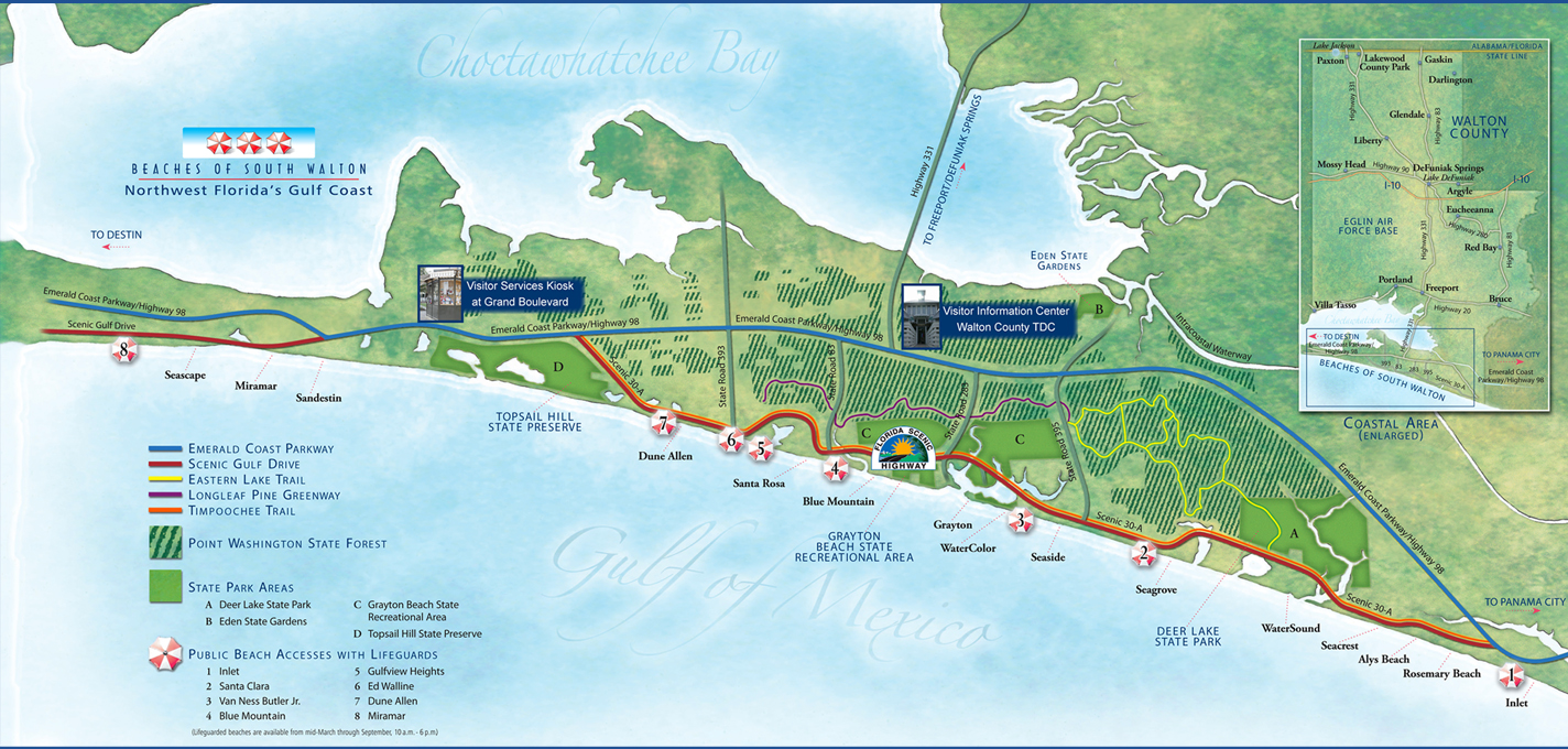 Longterm Beach Rentals Seaside FL Dolphin Developers - Florida map beach